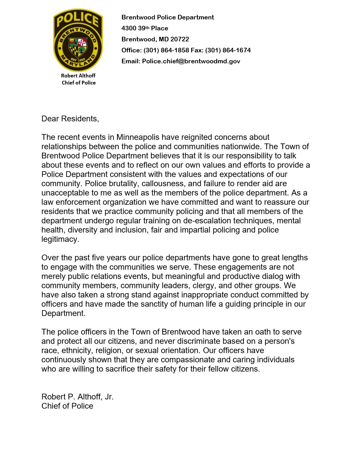 2020 Letter to Residents