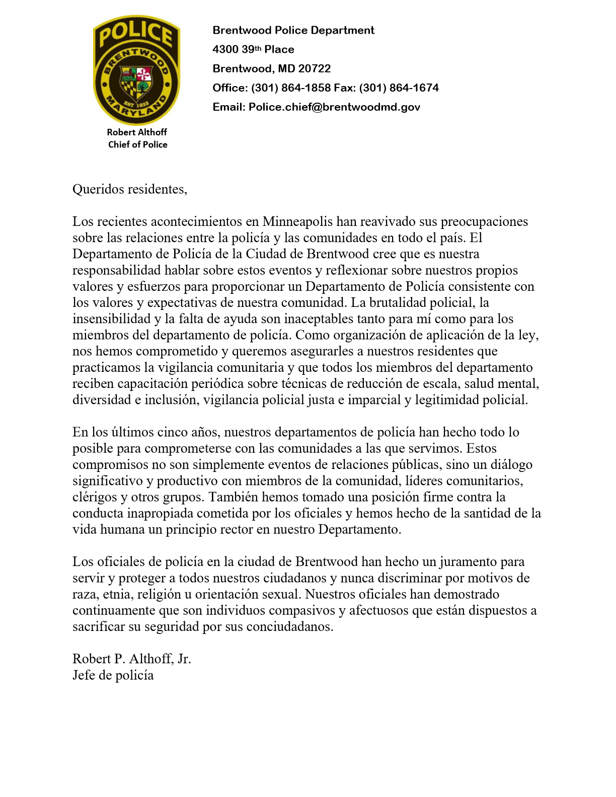 2020 Letter to Residents Spanish